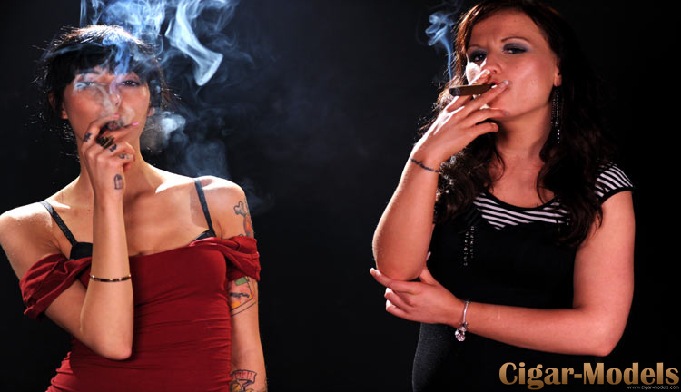Havana and Sabrina smoking cigars