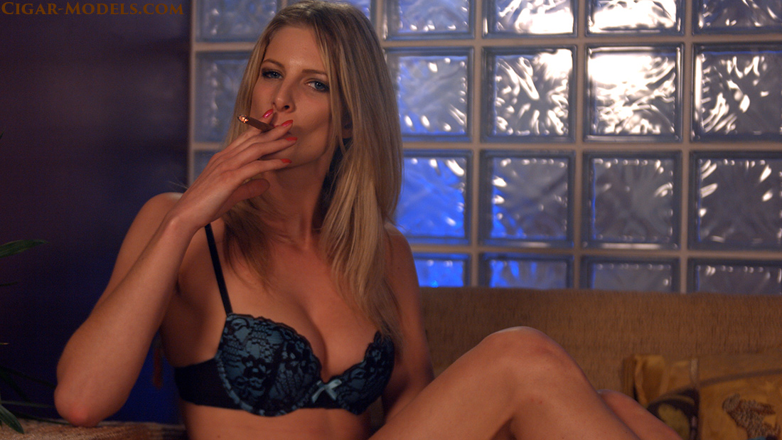 Rebecca inhaling cigar smoking in lingerie